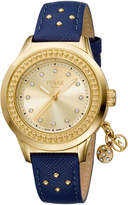 Ferré Milano Women's 36mm Stainless Steel Charms Watch with Leather Strap, Golden/Blue