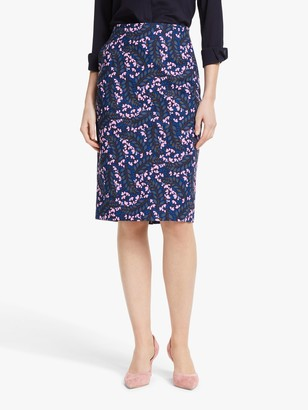 Boden Kensington Floral Pencil Skirt, Blue