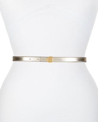 Tory Burch Skinny Metallic Leather Logo Belt