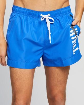 Tommy Hilfiger Men's Blue Boardshorts - Typeface Short Drawstring Swim Shorts - Size M at The Iconic