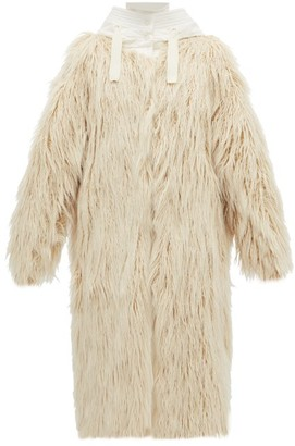 Moncler Bouregreg Faux-shearling Overlay Quilted Coat - Womens - Ivory
