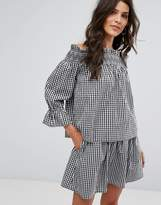 Vero Moda Gingham Off The Shoulder Top