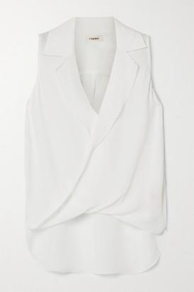 L'Agence Freja Wrap-effect Silk-georgette Blouse