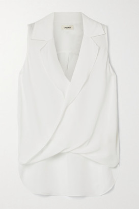 L'Agence Freja Wrap-effect Silk-georgette Blouse - White