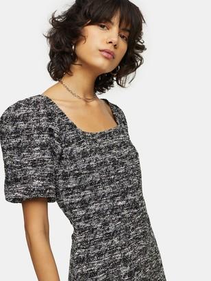 Topshop Volume Sleeve Boucle Mini Dress - Monochrome