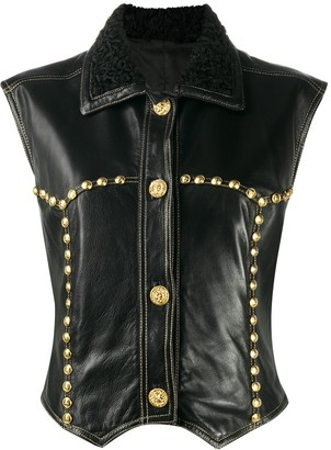 Versace Pre-Owned 1990s Medusa studded leather vest