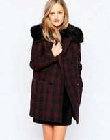 French Connection Highland Wool Faux Fur Collar Coat