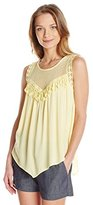 Democracy Women's Woven Tank with Mesh and Chandelier Trim