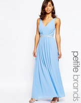 Jarlo Petite V Neck Maxi In Chiffon With Embellished Waist