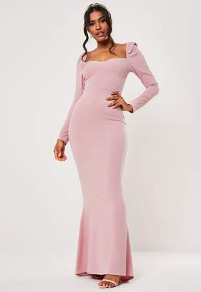 Missguided Bridesmaid Pink Milkmaid Long Sleeve Fishtail Maxi Dress