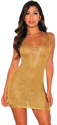 Tianwlio Women Clothing Evening Dresses for Women Sexy Bodycon Dress See Through Sheer Dress Evening Dress Camouflage Gauze Tight Fitting Gold Lined Perspective Mini Dress Blouse UK