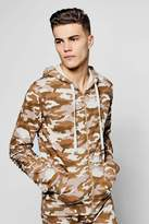 boohoo Camo Biker Zip Through Hoodie