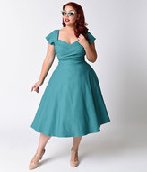 Stop Staring Plus Size Exclusive Mad Style Seafoam Cap Sleeve Swing Dress