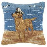 Soft Surroundings Golden Lab with Sailor Hat Hooked Pillow