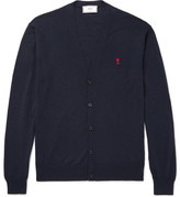 Ami Embroidered Merino Wool Cardigan - Navy