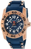 Swiss Legend Men's 'Commander Pro' Quartz Stainless Steel and Silicone Automatic Watch, Color:Blue (Model: 10069-RG-03-BLS)