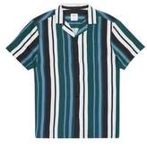 Burton Mens Navy and Teal Short Sleeve Stripe Shirt