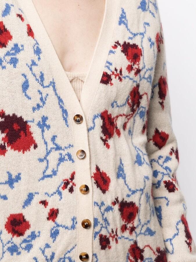 Thumbnail for your product : KHAITE Amelia floral jacquard cardigan