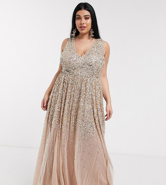 Maya plunge front delicate scattered sequin maxi dress in taupe blush