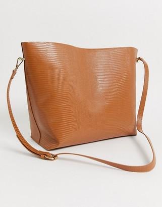 Truffle Collection tan croc slouch shoulder bag