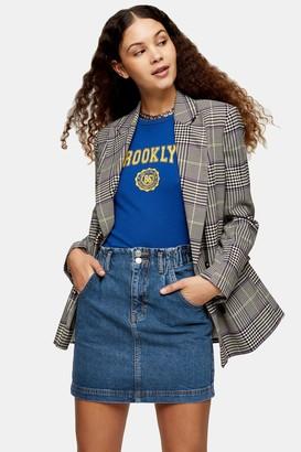 Topshop Paperbag Waist Denim Mini Skirt