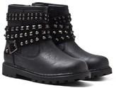 Mayoral Black Studded Ankle Strap Biker Boots
