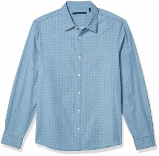 Perry Ellis Men's Untucked Chambray Diamond Print Long Sleeve Button-Down Shirt