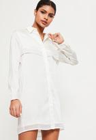 Missguided White Satin Layered Shirt Dress