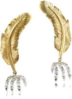 Forzieri Bernard Delettrez Bronze Feather w/Silver Claw Earrings