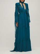 Thumbnail for your product : ZUHAIR MURAD Tulle & Lace Kaftan Long Dress