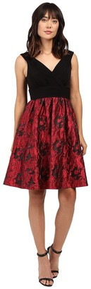 Adrianna Papell Women's Portrait Bodice Fit and Flare Red/Black 6