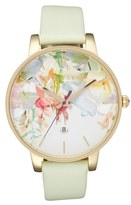 Ted Baker London Round Dial Leather Strap Watch, 40mm