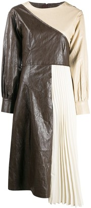 ANDERSSON BELL Faux Leather Pleats Combo Dress