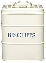 Kitchen Craft Living Nostalgia Airtight Metal Biscuit Tin, 14.5 x 19 cm - Antique Cream