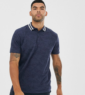 Asos Design DESIGN Tall relaxed pique polo with tipped collar and all over leaf print-Navy