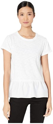 True Grit Dylan by Scout Tee with Ruffle Cotton Hem (White) Women's Clothing
