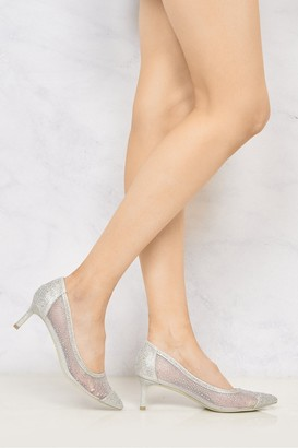 Miss Diva Sienna Pointed Toe Diamante Mesh Court Shoe in Silver