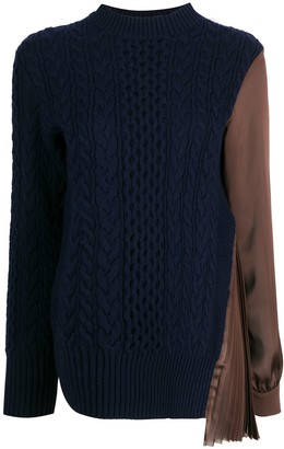 Sacai Satin-Panelled Cable-Knit Top