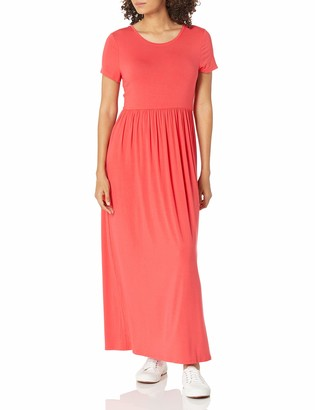 Amazon Essentials Women's Solid Short-Sleeve Waisted Maxi Dress