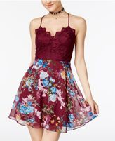 B. Darlin Juniors' Lace-Contrast Floral-Print Dress