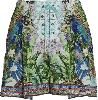 Camilla Printed Silk Lace-Up Shorts
