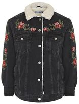 Topshop Moto embroidered borg jacket