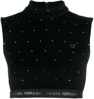 Chiara Ferragni Logo Cropped Sweater Top