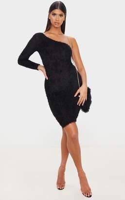 PrettyLittleThing Black Eyelash One Shoulder Midi Dress