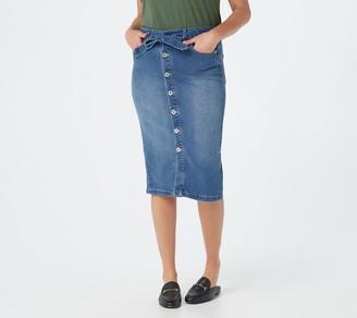 Denim & Co. Button Front Denim Skirt with Self-Tie