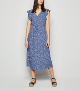 New Look Floral Frill Button Up Midi Dress