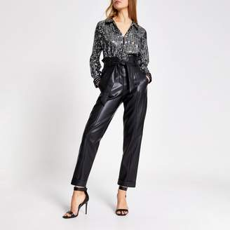 River Island Womens Silver sequin long sleeve collared shirt