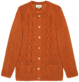 Gucci Cable knit mohair cardigan with GG