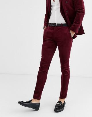 Topman super skinny suit pants in burgundy cord