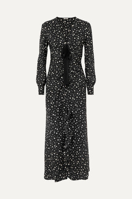 Miu Miu Ruffled Gathered Printed Silk Midi Dress - Black